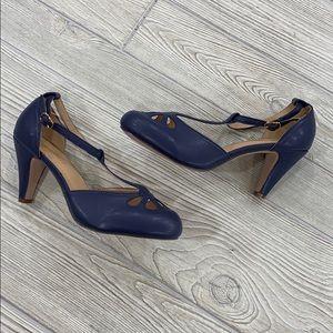 Chase + Chloe Vintage Indigo t-strap heels